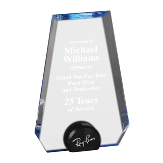 Blue Halo Pinnacle Acrylic Award with blue tinted round acrylic held upright with black anodized aluminum disk 8""