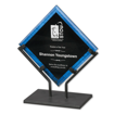 Blue Galaxy Art Acrylic Award with welded iron stand and galactic reverse printed design