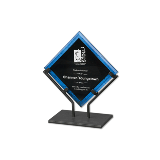 Blue Galaxy Art Acrylic Award with welded iron stand and galactic reverse printed design 7""
