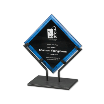 Blue Galaxy Art Acrylic Award with welded iron stand and galactic reverse printed design 10""