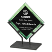 Green Galaxy Art Acrylic Award with welded iron stand and galactic reverse printed design