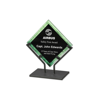 Green Galaxy Art Acrylic Award with welded iron stand and galactic reverse printed design 7""