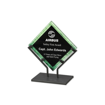 """Green Galaxy Art Acrylic Award with welded iron stand and galactic reverse printed design 7"""""""