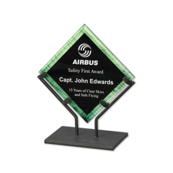 """Green Galaxy Art Acrylic Award with welded iron stand and galactic reverse printed design 10"""""""