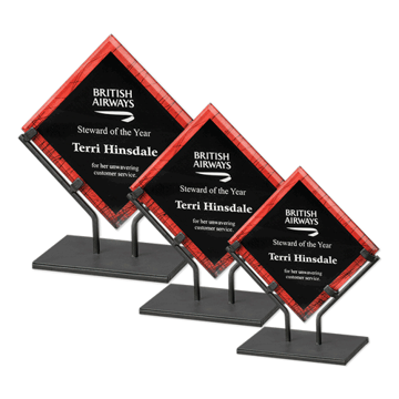 Red Galaxy Art Acrylic Award with welded iron stand and galactic reverse printed design shown three sizes
