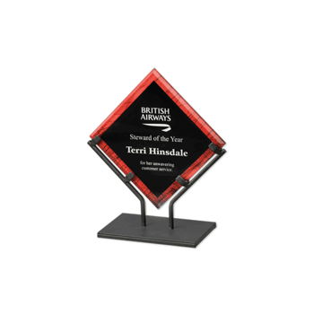 """Red Galaxy Art Acrylic Award with welded iron stand and galactic reverse printed design 7"""""""