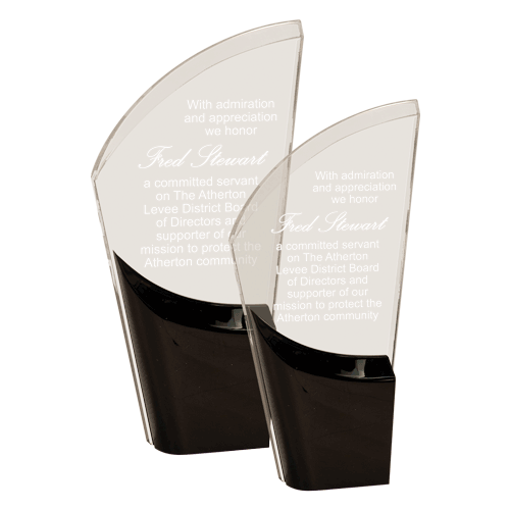 Black Lunar Acrylic Award with clear acrylic and crescent shaped black accented base shown two sizes