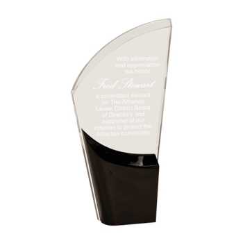 Black Lunar Acrylic Award with clear acrylic and crescent shaped black accented base 8""