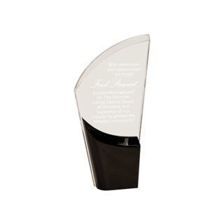 Black Lunar Acrylic Award with clear acrylic and crescent shaped black accented base 9""