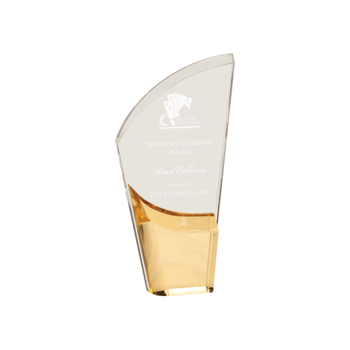 """Gold Lunar Acrylic Award with clear acrylic and crescent shaped black accented base 8"""""""