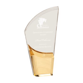 """Gold Lunar Acrylic Award with clear acrylic and crescent shaped black accented base 9"""""""