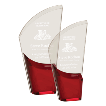 Red Lunar Acrylic Award with clear acrylic and crescent shaped black accented base shown two sizes