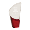 Red Lunar Acrylic Award with clear acrylic and crescent shaped black accented base
