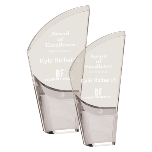 Silver Lunar Acrylic Award with clear acrylic and crescent shaped black accented base shown two sizes