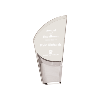 """Silver Lunar Acrylic Award with clear acrylic and crescent shaped black accented base 8"""""""
