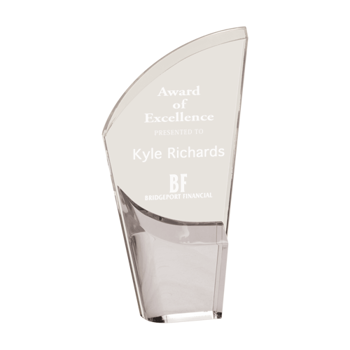 """Silver Lunar Acrylic Award with clear acrylic and crescent shaped black accented base 9"""""""