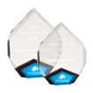 Blue Marquis Acrylic Award with diamond shape and black Lucite with blue mirror shown two sizes