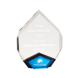 Blue Marquis Acrylic Award with diamond shape and black Lucite with blue mirror 9""