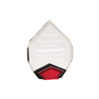 """Red Marquis Acrylic Award with diamond shape and black Lucite with red mirror 8"""""""