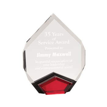"""Red Marquis Acrylic Award with diamond shape and black Lucite with red mirror 9"""""""