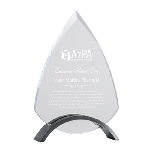 Valora Acrylic Award with arched silver metal base and peaked top acrylic insert
