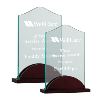 Tidal Acrylic Award featuring a rosewood base supporting a jade acrylic engraving area shown two sizes