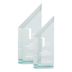 """Zenith Pinnacle Acrylic Award of 1"""" thick free standing jade acrylic shown two sizes"""