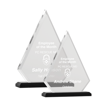 Presidential Pinnacle Acrylic Award featuring a black Lucite base and clear pinnacle shaped engraving area shown three sizes