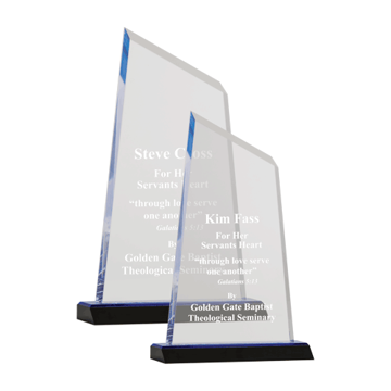 Sierra Acrylic Award featuring a black Lucite base with blue tinted acrylic engraving area shown two sizes