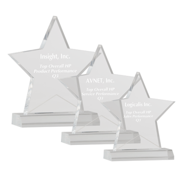 Star Acrylic Award with five point clear acrylic star mounted on beveled base shown three sizes