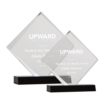 Presidential Square Acrylic Award featuring a black Lucite base and clear inverted square shaped engraving area shown two sizes