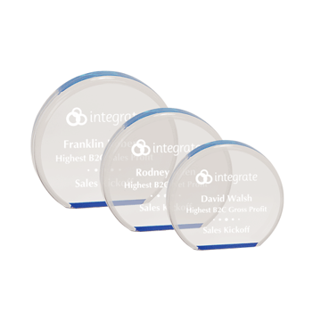 "Reflective Circle Acrylic Award of 1"" thick free standing blue tinted acrylic in circular shape shown three sizes"