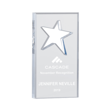 "Star Knockout Acrylic Award of 3/4"" thick free standing clear acrylic with star shape knocked out of center"