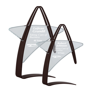 Orion Acrylic Award featuring a steel cradle and clear acrylic that create a star shape shown two sizes