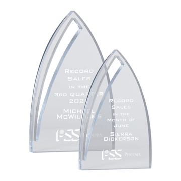 Nimbus Acrylic Award featuring a free standing curved pinnacle shape with unique cutout shown two sizes