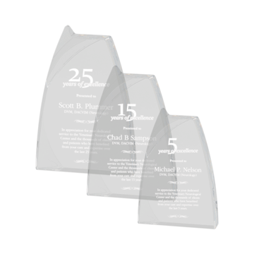 Triumph Acrylic Award of clear acrylic with curved edges and notched top shown three sizes