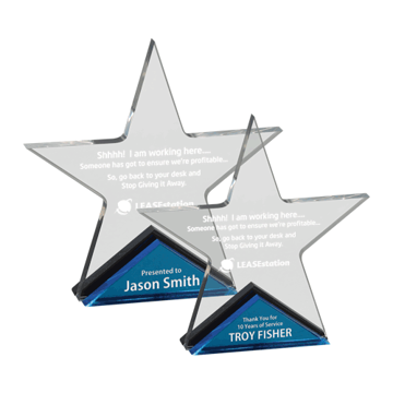 Spectra Star Acrylic Award with blue mirror base supporting a clear acrylic five point star shown two sizes