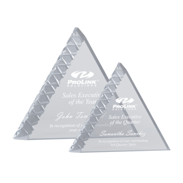"Summit Acrylic Award of 1 1/4"" thick free standing acrylic carved into mountain summit shape shown two sizes"