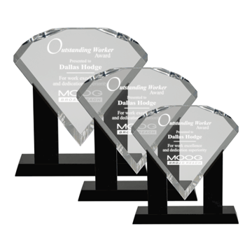 Performance Acrylic Award featuring a black Lucite cradle holding a diamond shaped clear acrylic engraving area shown three sizes