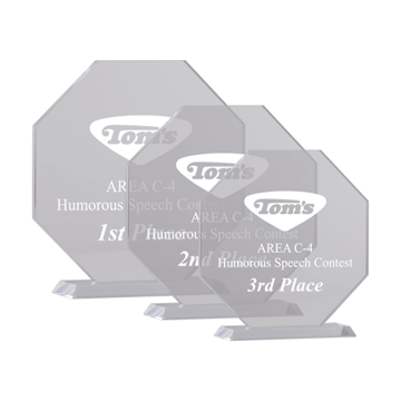 Mini Octiva Acrylic Award of clear acrylic in shape of octagon mounted to beveled base shown three sizes