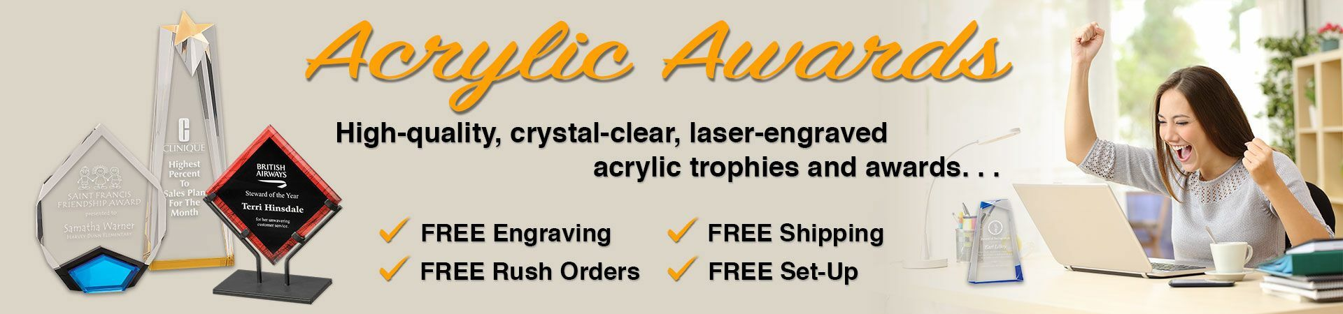 Acrylic Awards slider with image of acrylic awards and office employee celebrating her achievements