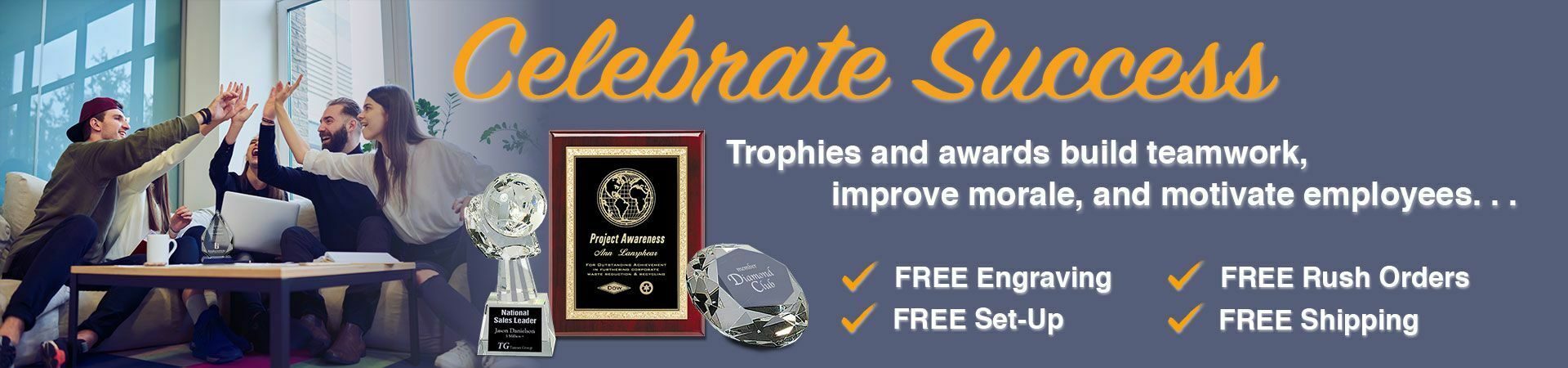 Celebrate Success slider showing corporate crystal awards and an award plaque with office team celebrating