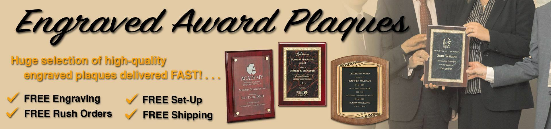 Engraved Award Plaques slider with image of corporate team holding an engraved award plaque