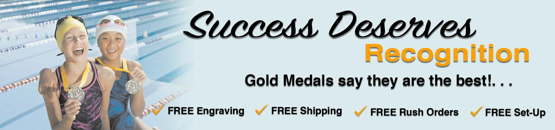 Success Deserves Recognition slider showing two girls celebrating winning gold medals after a swim meet.
