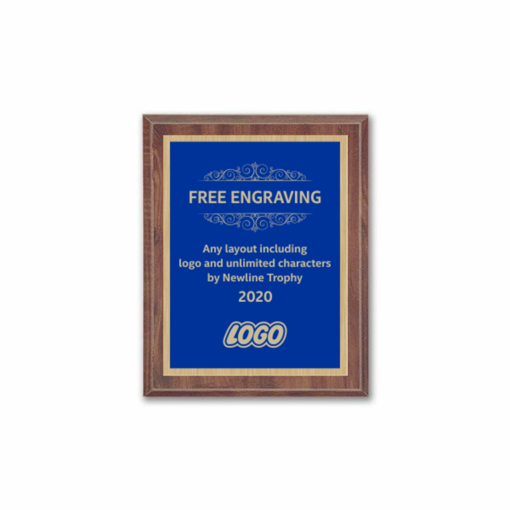 "6"" x 8"" Customizable Economy Award Plaque with cherry veneer board and blue engraving plate"