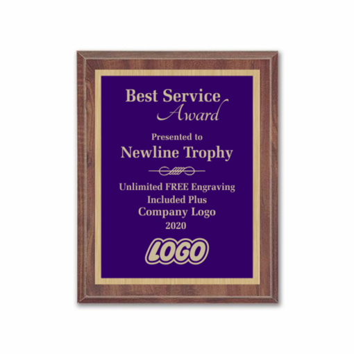 "8"" x 10"" Customizable Economy Award Plaque with cherry veneer board and purple engraving plate"