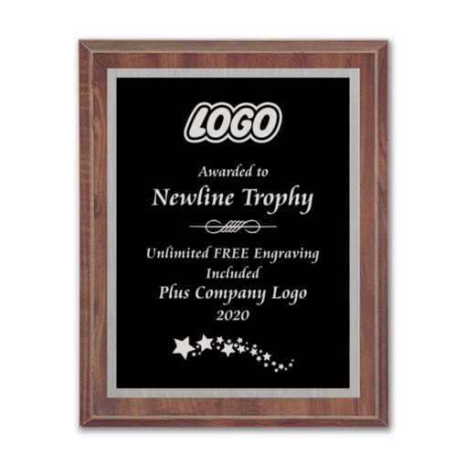 """9"""" x 12"""" Customizable Economy Award Plaque with cherry veneer board and black aluminum engraving plate"""