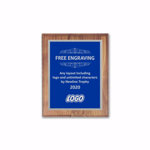 """6"""" x 8"""" Customizable Executive Award Plaque with solid walnut board and blue aluminum engraving plate"""