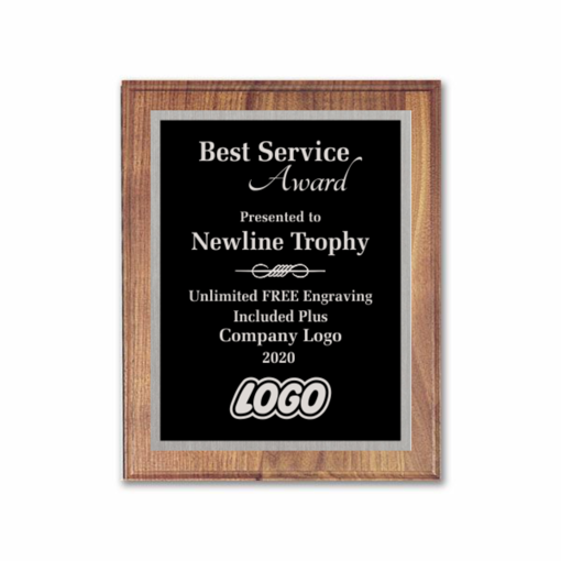 "8"" x 10"" Customizable Executive Award Plaque with solid walnut board and black aluminum engraving plate"