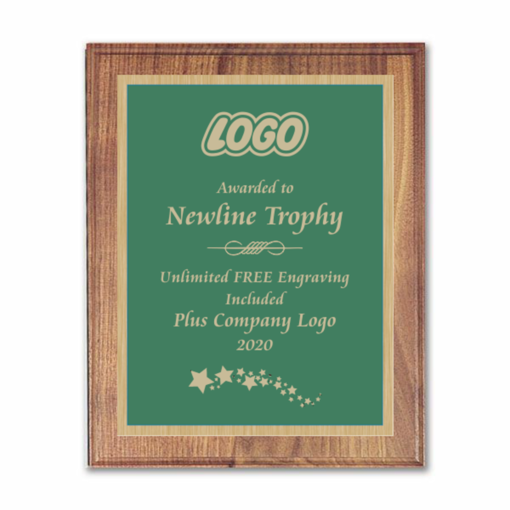 """9"""" x 12"""" Customizable Executive Award Plaque with solid walnut board and green engraving plate"""